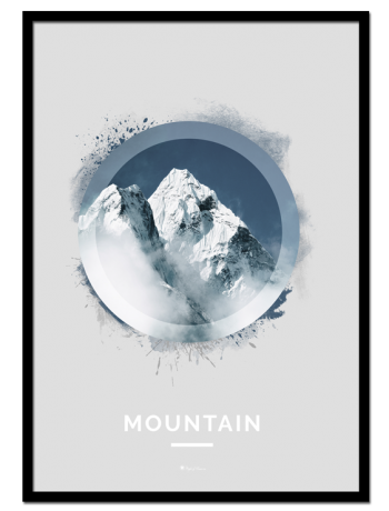 "Mountain poster | Nature poster of a snow-covered mountain. See ""Forest"" and ""Ocean"" for other nature motifs."