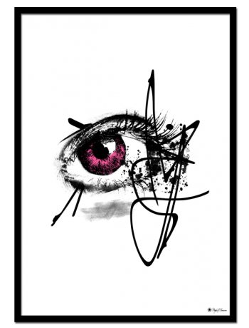 "Pink Iris poster | Artistic drawing of an eye with pink iris. Matches perfectly with ""Colorful Mess"" and ""Pink Butterfly""."