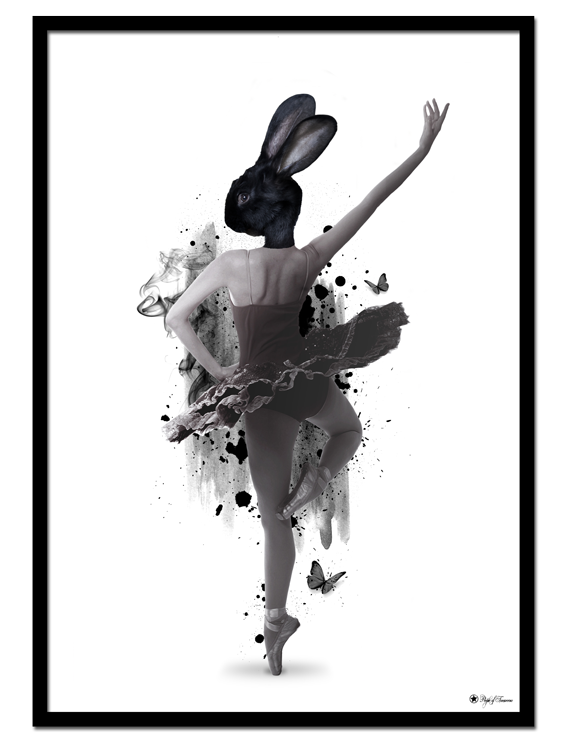 Prima Ballerina poster | Artistic art print of a ballerina with a black bunny head and brush elements.
