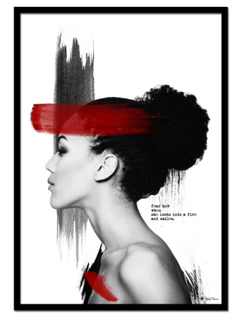 "Red Velvet poster | Photo poster of woman with brush art elements and typography. Combine with ""Elle Noir"" and ""Red Lip Killer"" for the perfect combo!"