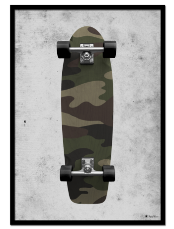 "Skate poster | Camo skateboard on grunge background. Match with ""Green Marble"" and ""Let's Get Drunk"" for the perfect gallery wall."