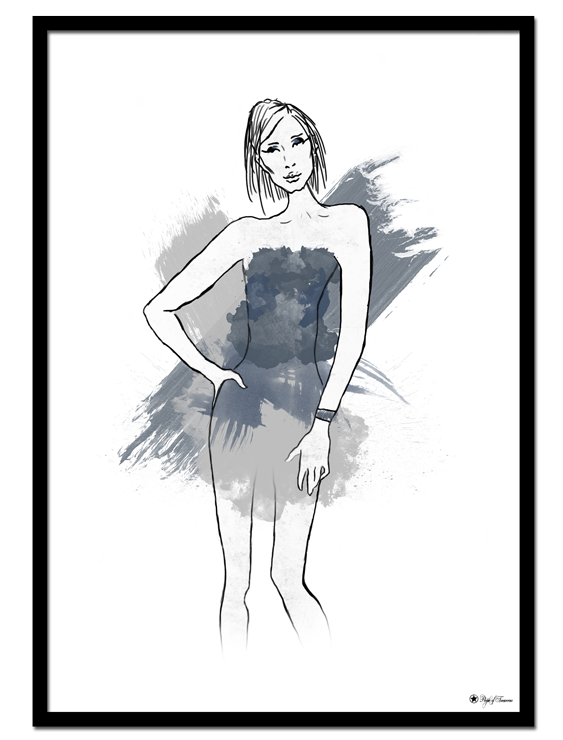 Sketchy Blue poster | Fashion drawing of woman in blue and grey dress.