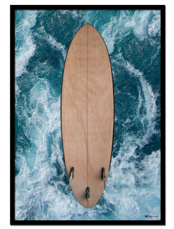 Surf poster | Poster of a wooden surfboard and teal, blue ocean.