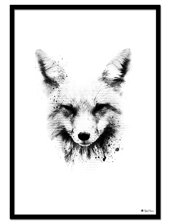 The Fox poster |Artistic print of a fox with typography elements.