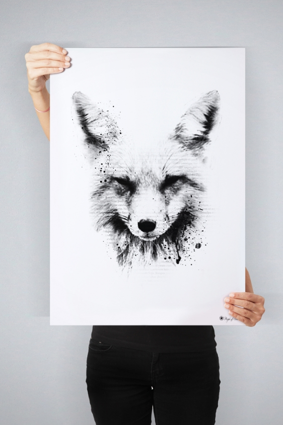 The Fox poster | Grafisk kunstplakat av en rev med typografiske elementer.