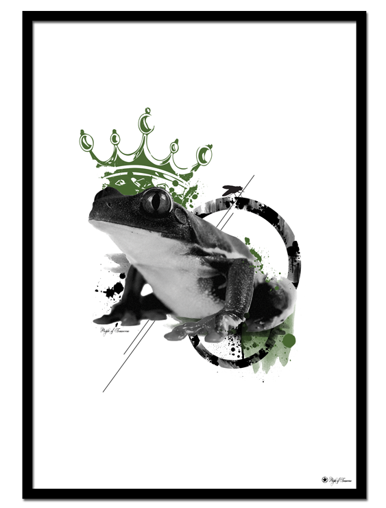 The Prince poster | Artistic art print of a frog with a green crown.