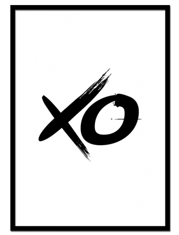 XO poster | Minimalistic poster with black typography that is easy to match with other prints.