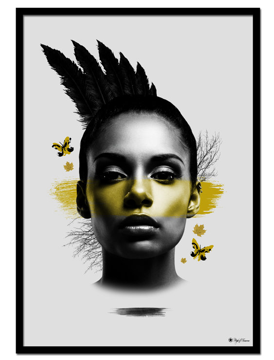 "Yellow Mohawk poster | Artistic art print of woman with feathers and yellow details. Match with ""Yellow Butterfly"", ""Ebony & Ivory"", ""Hustle"" or other yellow prints."