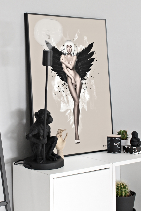 Angel poster | Artistic poster of a naked woman with black wings on beige background