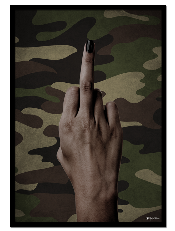Camo Mood poster | Edgy poster with middle finger hand gesture on camouflage background.