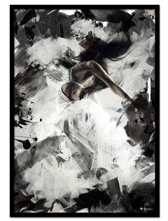 Wild & Free poster | Beautiful abstract print with black and grey brush element and a woman flying in the middle.