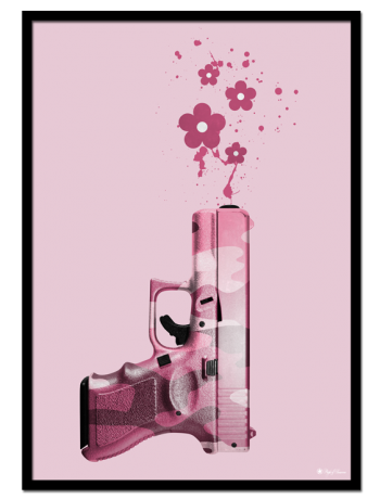 Cute but Psycho poster | Pink poster of a pink camo handgun shooting flowers.