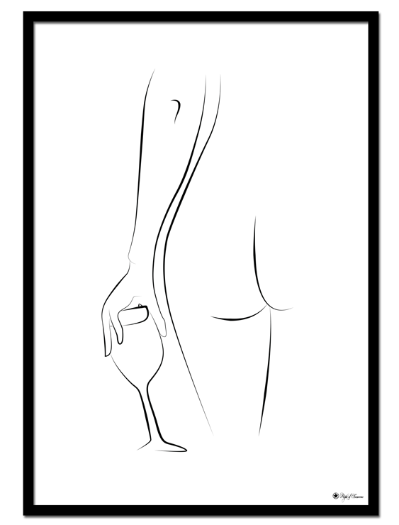 Home Alone poster | Line art poster of a naked woman with a wine glass.