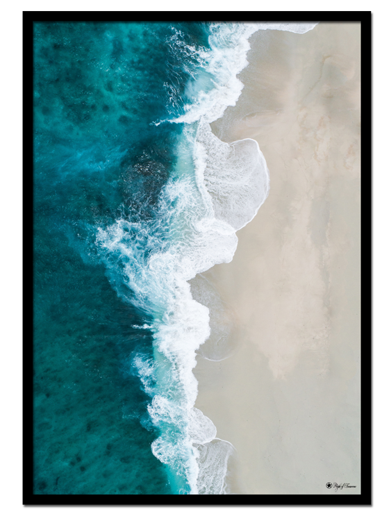 Beach Waves poster | Beautiful photo art of blue ocean and beach.