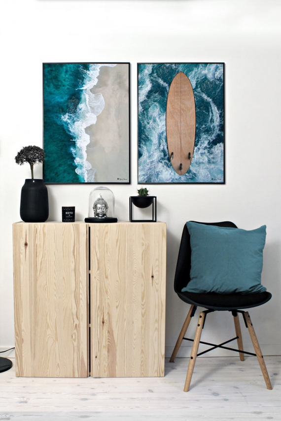 "Beach Waves poster | Beautiful photo art of blue ocean and beach. Match with ""Surf"" and ""Good Vibes Only""."