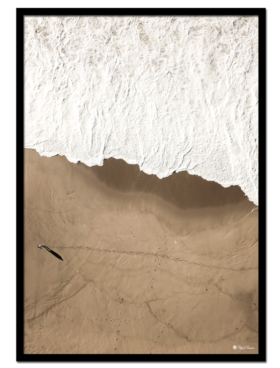 Big Brown Beach poster | Beautiful photo art of white sea foam and brown beach.