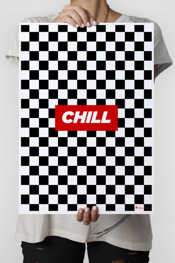 Chill poster | Poster with chess pattern and typography.