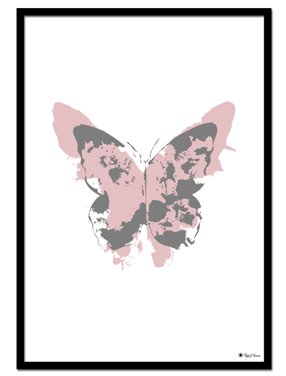 Dusty Pink Butterfly poster | Pink and grey butterfly shapes. Minimalistic print on white background.