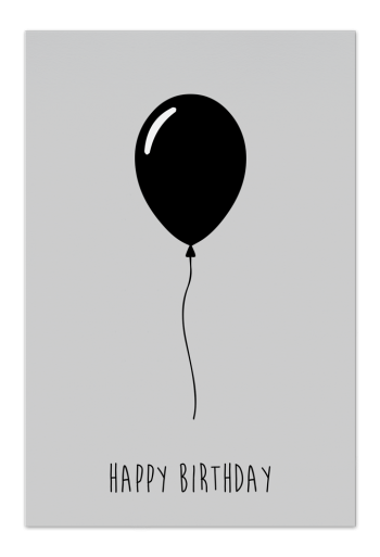 Happy Birthday – Black – Art Card