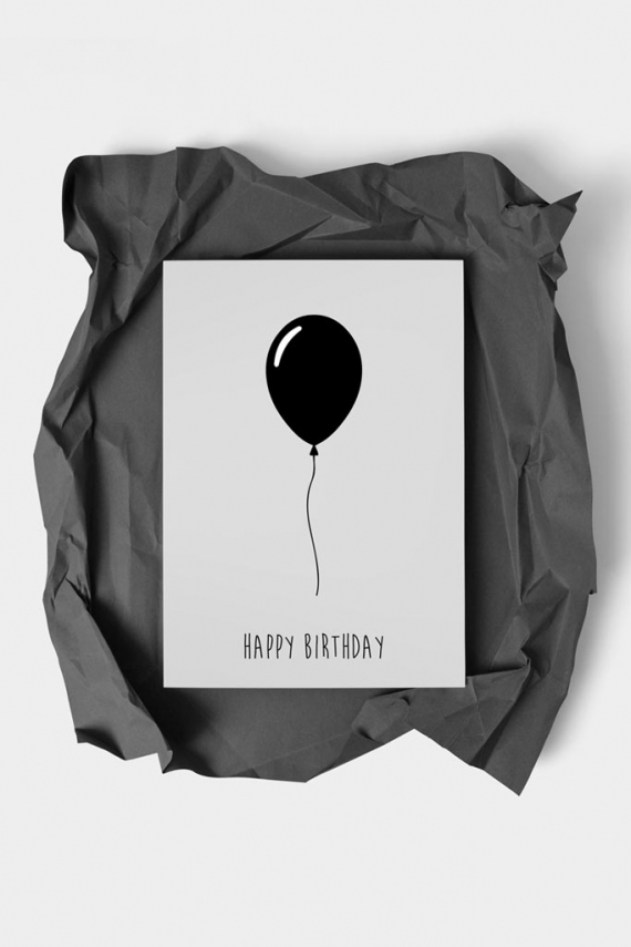 Happy Birthday Black Art Card | Art doesn't have to be big to make a big impression. With a selection of unique art work printed on high quality paper, these are a versatile type of art for all sorts of occasions. Explore unique art cards for creative decorating!