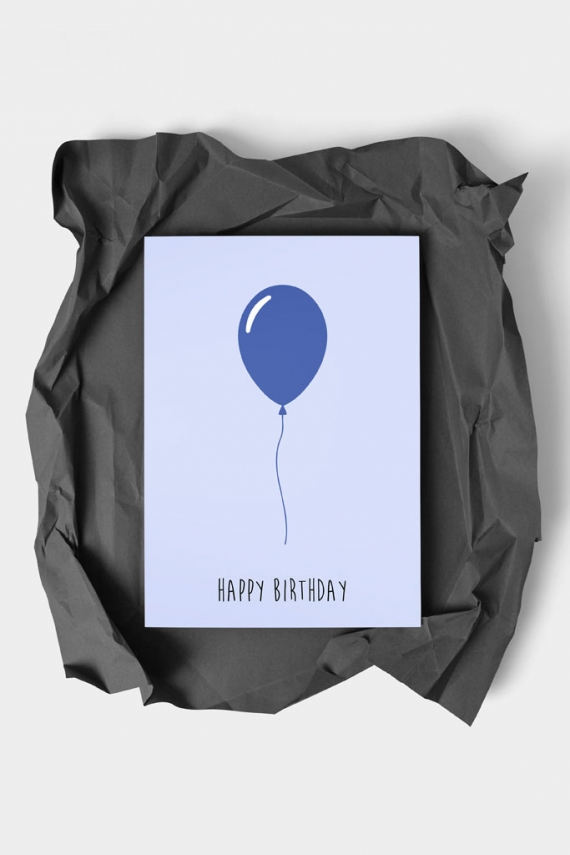 Happy Birthday Blue Art Card by People of Tomorrow. Art doesn't have to be big to make a big impression. With a selection of unique art work printed on high quality paper, these are a versatile type of art for all sorts of occasions. Explore unique art cards for creative decorating!