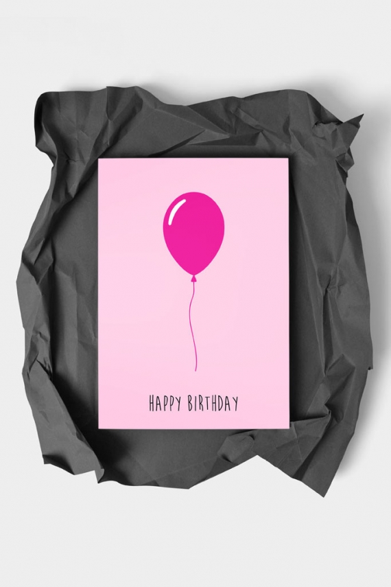 Happy Birthday Pink Art Card by People of Tomorrow. Art doesn't have to be big to make a big impression. With a selection of unique art work printed on high quality paper, these are a versatile type of art for all sorts of occasions. Explore unique art cards for creative decorating!