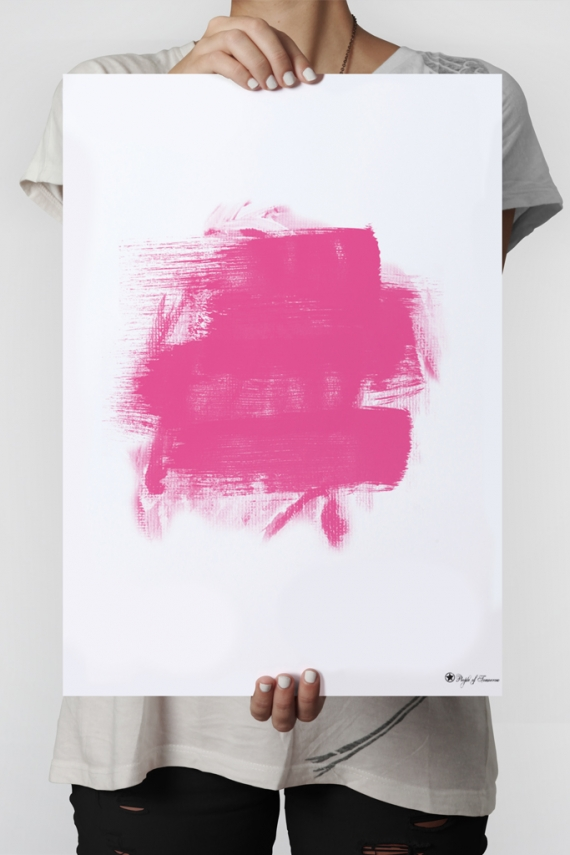 Pink Brush poster | Pink brush art. Abstract, minimalistic print.