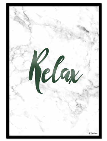 Relax poster | Typography poster with green font on white marble background.