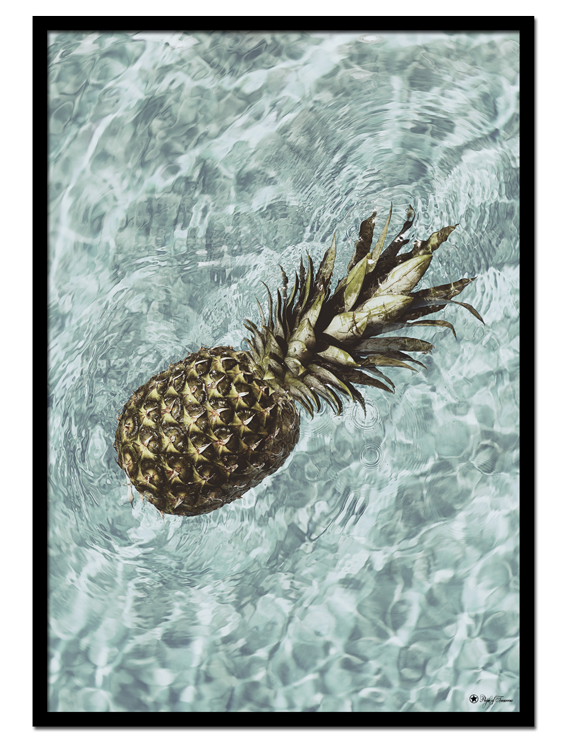 "Floating Pineapple poster | Photo art poster of a pineapple floating in a pool. Match with ""Paradise"" for the perfect gallery wall."