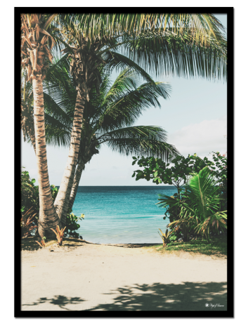 "Paradise poster | Tropical photo art poster of a beautiful beach surrounded by big palm trees. Match with ""San Bernadino"" and ""Floating Pineapple"" for the perfect gallery wall."