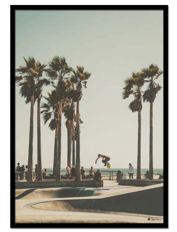 "San Bernadino poster | Photo art poster of a man jumping on skateboard surrounded by people, palm trees and ocean. Match with ""Sunset Skate"" for the perfect gallery wall."