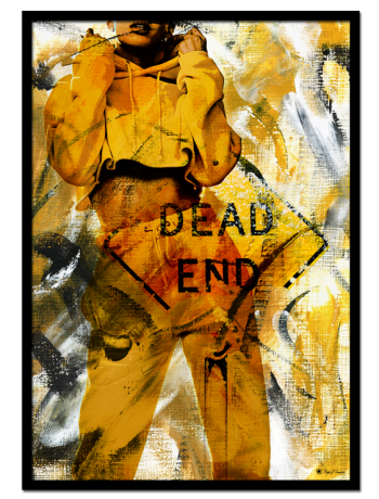 Dead End poster | Abstract art print made from acrylic paint with digital modifications. By combining analogue and digital techniques we have created a special edition of poster art for your home. These art prints are painted with acrylic paint on canvas and modified digitally by our designteam.