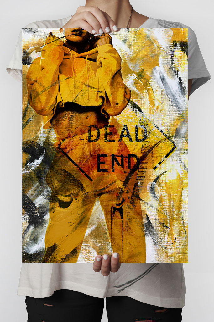 Dead End poster   Abstract art print made from acrylic paint with digital modifications.By combining analogue and digital techniques we have created a special edition of poster art for your home. These art prints are painted with acrylic paint on canvas and modified digitally by our designteam.