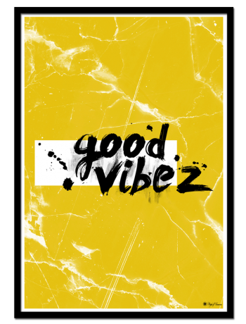 Good Vibez poster |Typographic poster with brush font on yellow marble background.