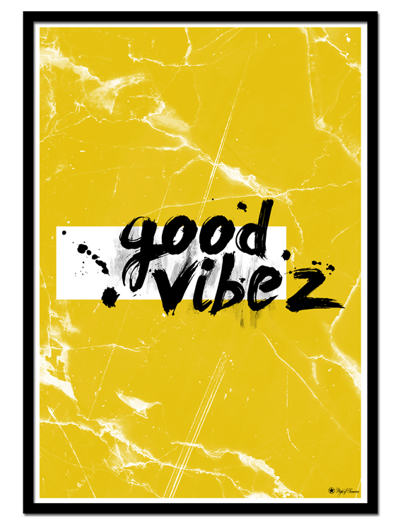 Good Vibez poster | Typographic poster with brush font on yellow marble background.
