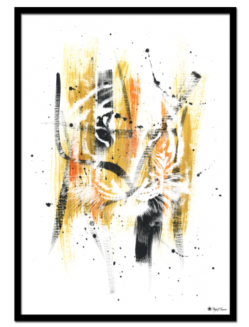 Tiger Stripes poster | Abstract art print made from acrylic paint with digital modifications. By combining analogue and digital techniques we have created a special edition of poster art for your home. These art prints are painted with acrylic paint on canvas and modified digitally by our designteam.