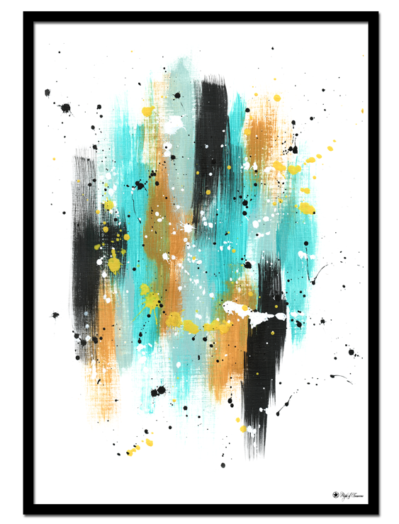 Vacation poster | Abstract art print made from acrylic paint with digital modifications.By combining analogue and digital techniques we have created a special edition of poster art for your home. These art prints are painted with acrylic paint on canvas and modified digitally by our designteam.