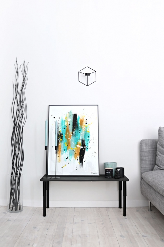 Vacation poster | Abstract art print made from acrylic paint with digital modifications. By combining analogue and digital techniques we have created a special edition of poster art for your home. These art prints are painted with acrylic paint on canvas and modified digitally by our designteam.