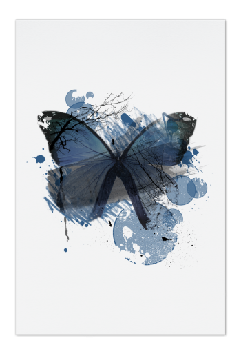 Blue Butterfly Art Card | Art doesn't have to be big to make a big impression. Our art cards are about the size of postcards, but they'll brighten up any room with their eye-catching designs. With a selection of unique art work printed on high quality paper, these are a versatile type of art for all sorts of occasions.