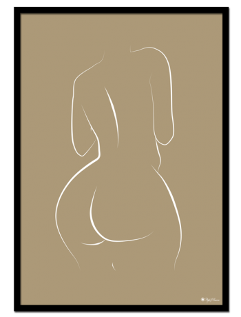 Curvy Lines poster | White line art drawing on beige background.