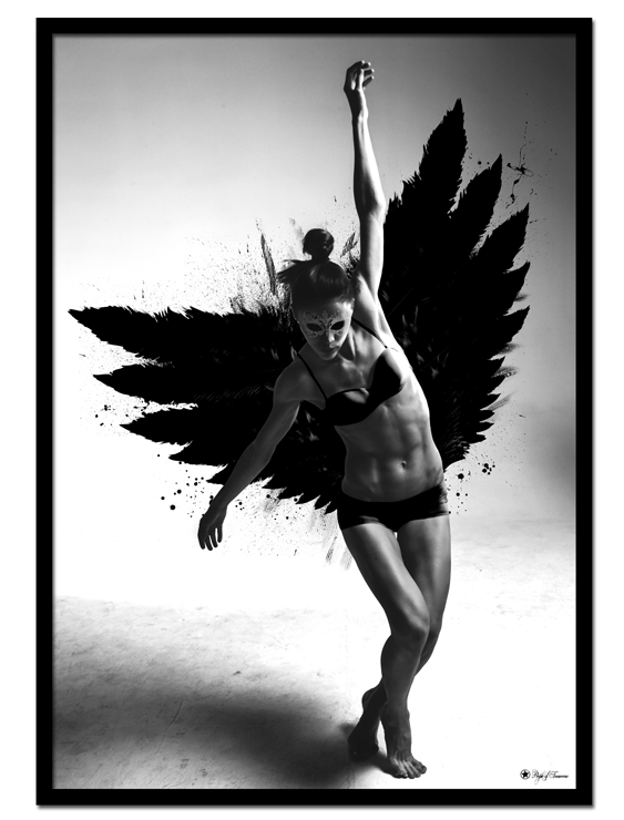 Euphoric Disturbance poster | Graphic art print of a strong woman with black wings.