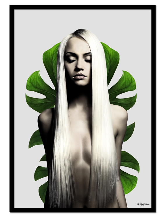 Eve poster | Graphic art print of a naked woman surrounded by green plants.