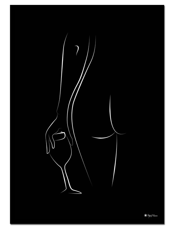Home Alone 2 poster | Line art poster of a naked woman with a wine glass.