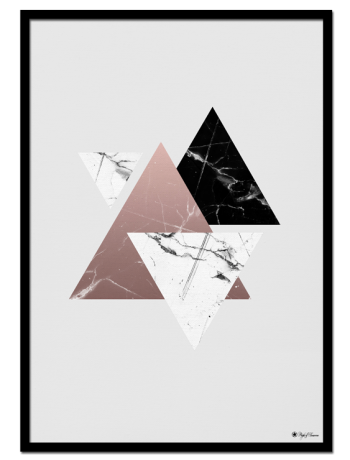 Marble Triangles poster | Poster of triangles with marble texture.