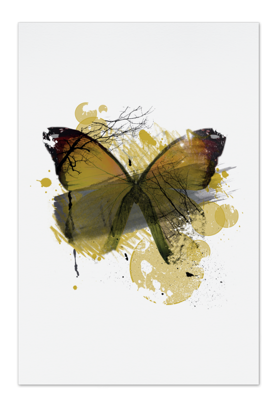 Yellow Butterfly Art Card | Art doesn't have to be big to make a big impression. Our art cards are about the size of postcards, but they'll brighten up any room with their eye-catching designs. With a selection of unique art work printed on high quality paper, these are a versatile type of art for all sorts of occasions.