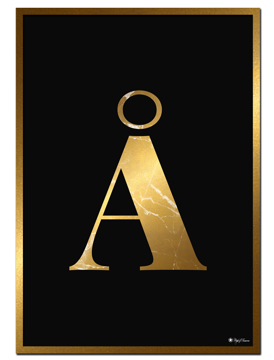 Å - Golden Marble Letter poster   Minimalistic typography poster with golden marble texture.