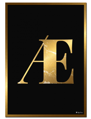 Æ - Golden Marble Letter poster | Minimalistic typography poster with golden marble texture.