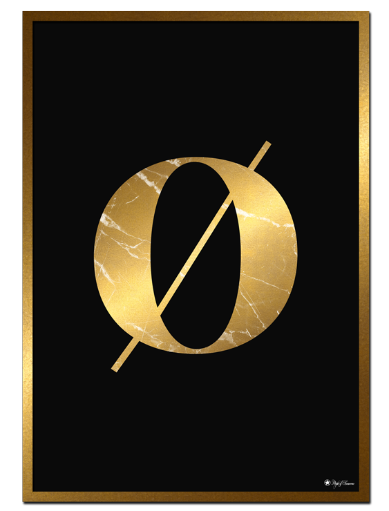 Ø - Golden Marble Letter poster | Minimalistic typography poster with golden marble texture.