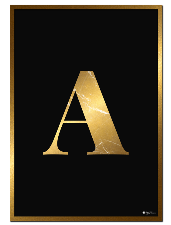 A - Golden Marble Letter poster |Minimalistic typography poster with golden marble texture.