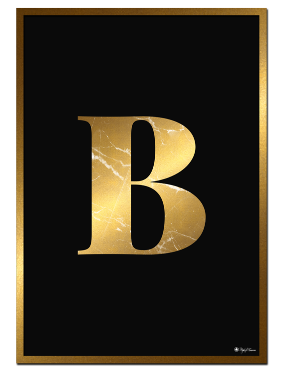 B - Golden Marble Letter poster | Minimalistic typography poster with golden marble texture.